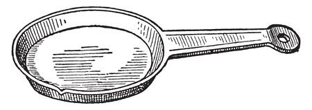 skillet: Pie dish, vintage engraved illustration. Illustration