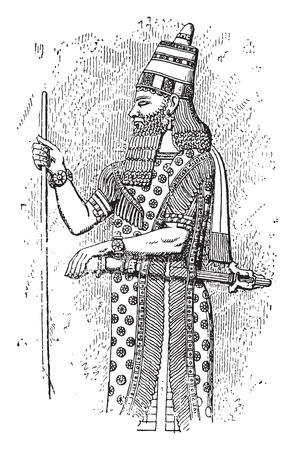 Embroidered cloth, vintage engraved illustration. Stock Illustratie