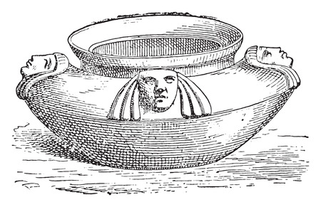 earthenware: Cup, vintage engraved illustration.