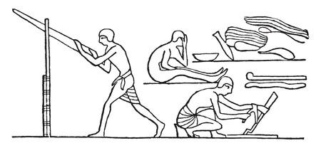 egyptian: Egyptian carpenters, vintage engraved illustration. Illustration