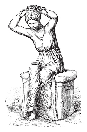 toilet: Young woman at her toilet, vintage engraved illustration. Private life of Ancient-Antique family-1881.