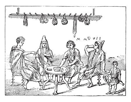 An inn, vintage engraved illustration. Illustration
