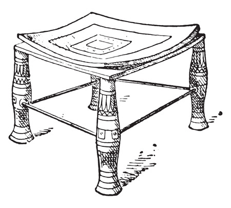 old furniture: Stool, vintage engraved illustration. Private life of Ancient – Antique family – 1881.