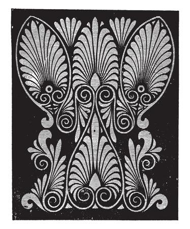 Greek palmette, vintage engraved illustration.