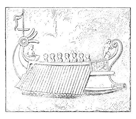trireme: Trireme, vintage engraved illustration.