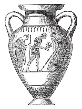 earthenware: Vase painted with black figures, vintage engraved illustration.