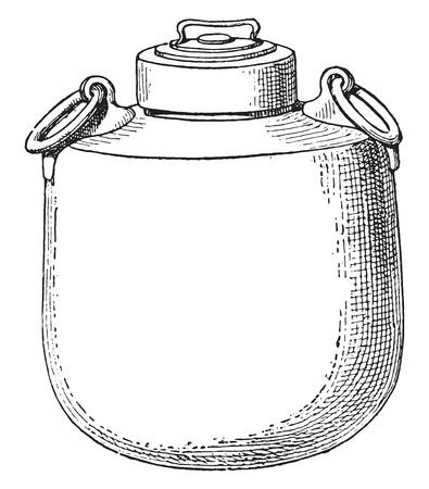 caldron: Cauldron, vintage engraved illustration.