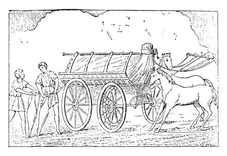 further: Further transport, vintage engraved illustration.