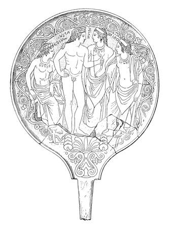 Specchio etrusco, vintage illustrazione inciso.