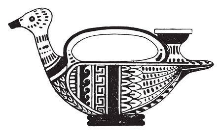 earthenware: Painted pottery, vintage engraved illustration. Illustration