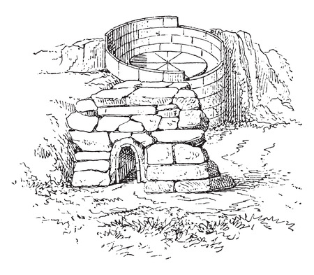 potter: Oven potter, vintage engraved illustration.
