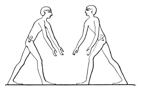 stepped: He stepped wrestlers against each other, vintage engraved illustration.