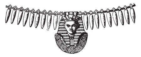 Frame necklace with sphinx, vintage engraved illustration.