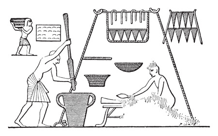 pantry: An Egyptian kitchen with pantry, vintage engraved illustration.