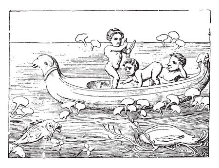 pygmy: Pygmies driving a boat, vintage engraved illustration.