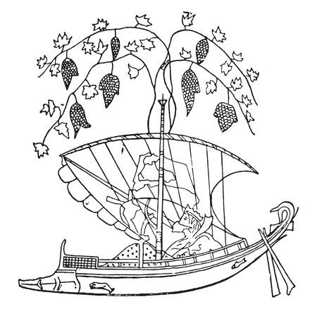 vessel: Tyrrhenian vessel, vintage engraved illustration.
