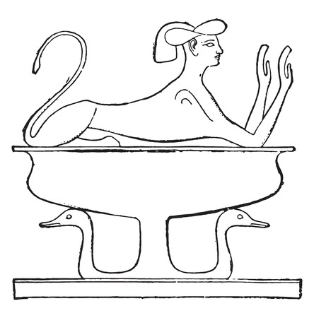 sphinx: Vase decorated with a sphinx, vintage engraved illustration.