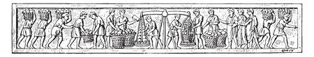 vintage drawing: Bread making, vintage engraved illustration.