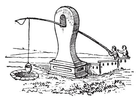 well: Rustic wells, vintage engraved illustration. Illustration