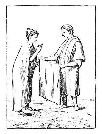Merchant of canvas, vintage engraved illustration.