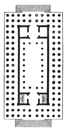 Hypaethral Temple, vintage engraved illustration.