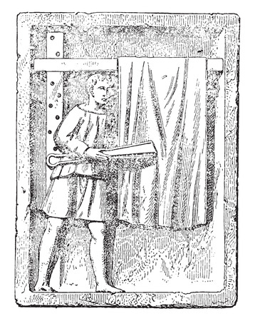 shearer: Cloth shearer, vintage engraved illustration.