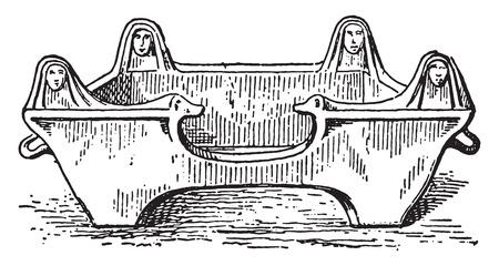 Stove, vintage engraved illustration.