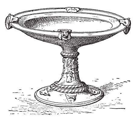 Coppa etrusca, vintage illustrazione inciso.