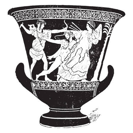 Vase with red figures, vintage engraved illustration. Ilustrace