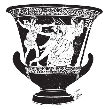 earthenware: Vase with red figures, vintage engraved illustration. Illustration