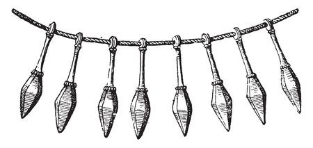 Bronze necklace, vintage engraved illustration.