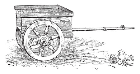chariot: Gallic Chariot, vintage engraved illustration.