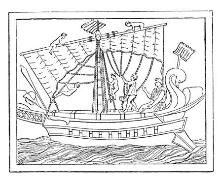 manoeuvre: Maneuver the sail in a transport vessel, vintage engraved illustration.