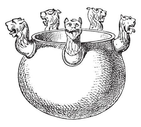 Etruscan vases in bronze, vintage engraved illustration.