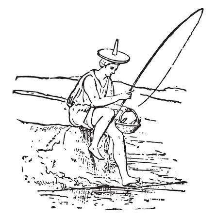 angler: Angler, vintage engraved illustration.