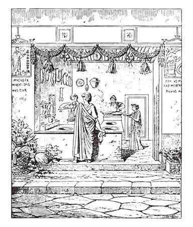 restaurateur: Public kitchen, vintage engraved illustration.