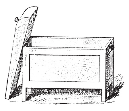 Box with the lid open, vintage engraved illustration. Private life of Ancient – Antique family – 1881. Ilustração