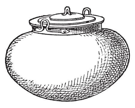 caldron: Pot with lid, vintage engraved illustration.