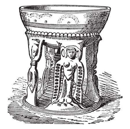 etruscan: Etruscan pottery, vintage engraved illustration. Illustration