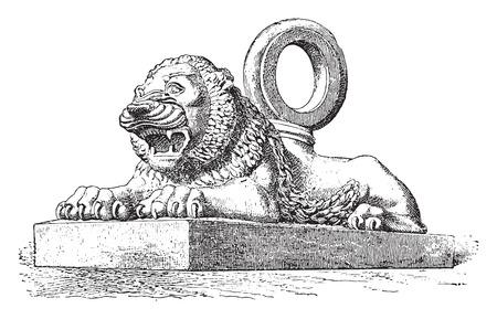 Lion Assyrian bronze, vintage engraved illustration.