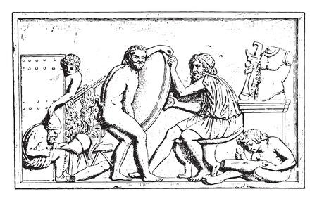 traders: A workshop of dealer, vintage engraved illustration. Illustration