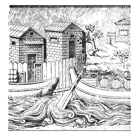 Roman ships, vintage engraved illustration. Stock Vector - 42031326