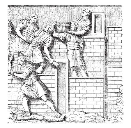 trajan: Carriers of burdens, vintage engraved illustration.