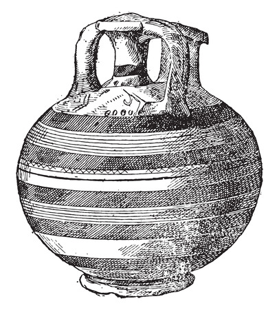 earthenware: Vase found at Mycenae, vintage engraved illustration.