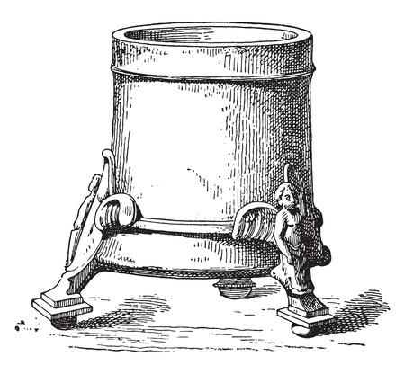 Bronze vases, vintage engraved illustration.