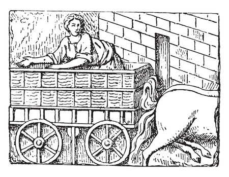 romans: Gallo-Roman Chariot, vintage engraved illustration. Illustration