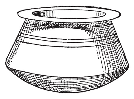 handle: Cauldron without handle, vintage engraved illustration.
