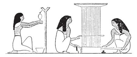 weaving: Weaving workshop, vintage engraved illustration.