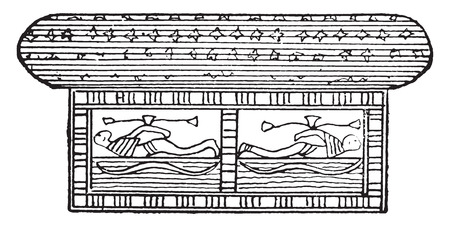 representations: Egyptian bed, vintage engraved illustration. Private life of Ancient – Antique family – 1881.