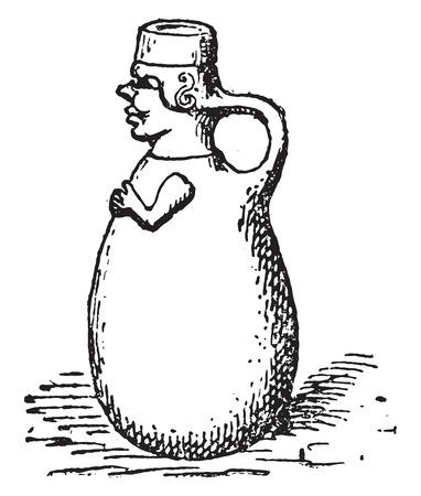 Ceramica etrusca, vintage illustrazione inciso.